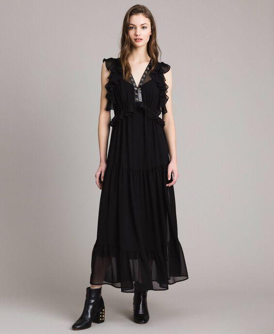Vestido largo de georgette con aros