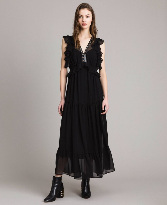 Long georgette dress with rings Black Woman 191MP2390-01