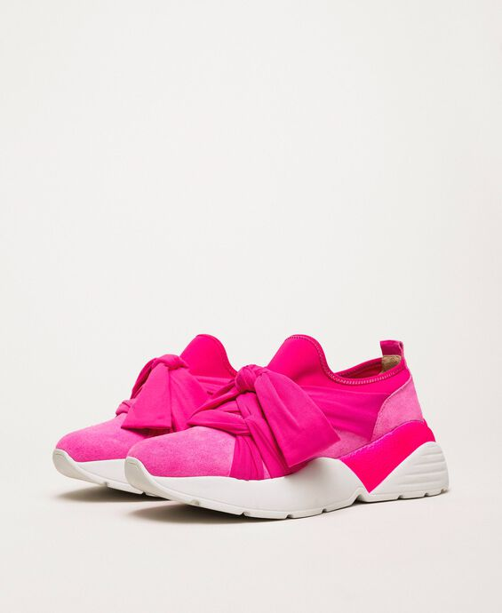 Fabric sneakers with knot