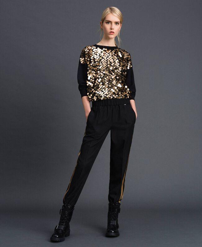 Pantalon cigarette avec bandes contrastées Noir Femme 192ST2201-01