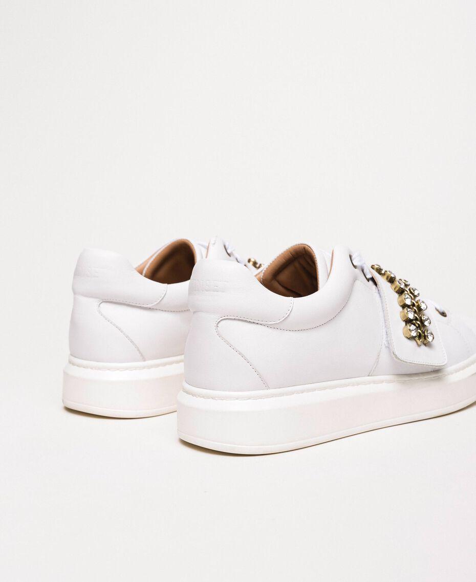 Sneakers aus Leder mit Chatons Weiß Frau 201TCP094-03