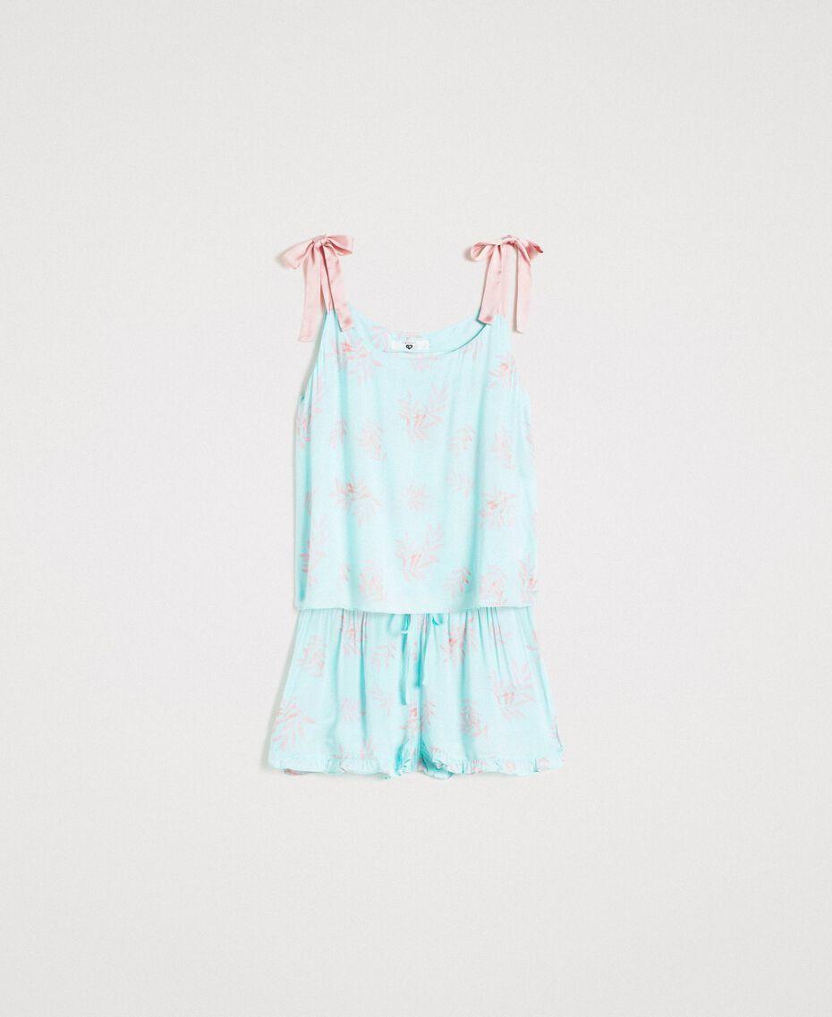 Floral jacquard short pajamas Mousse Blue Leaf Print Woman 191LL2FCC-01