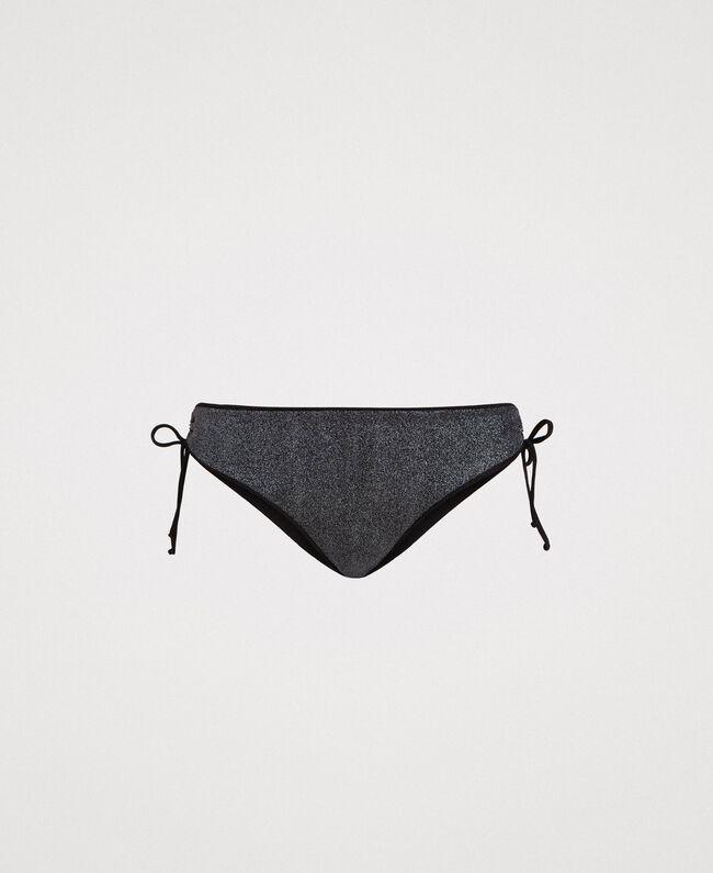 Bikinihose mit Tunnelzug an den Seiten Schwarz Frau 191LBM399-01