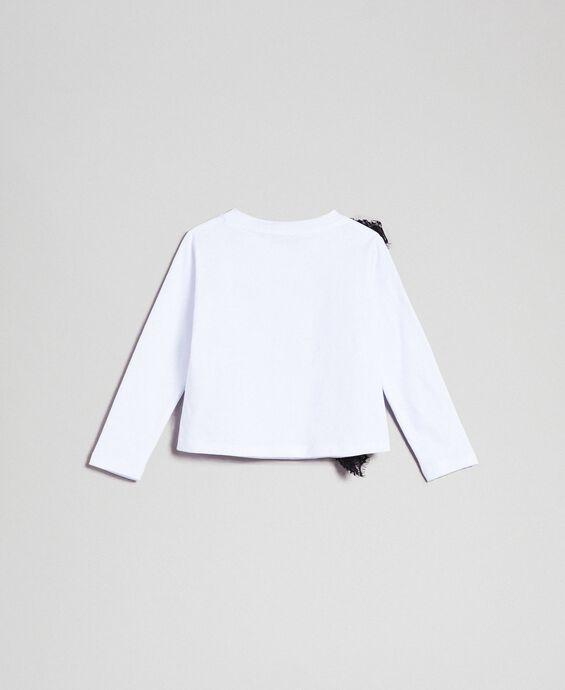 T-shirt avec insertion en dentelle et imprimé