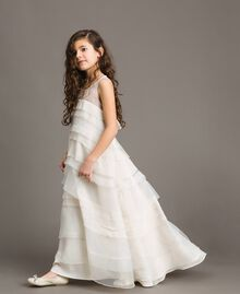 Georgette and organza long dress Pale Cream Child 191GJ2QD0-03