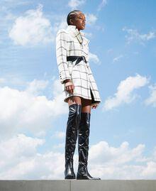 Пальто из жаккардового сукна Большая Клетка Двухцветный Черный Белый / Черный женщина 202TP224A-0T