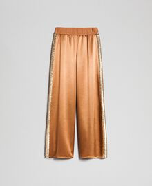 """Satin palazzo trousers with sequins """"Camel Skin"""" Beige Woman 192LI2RBB-0S"""