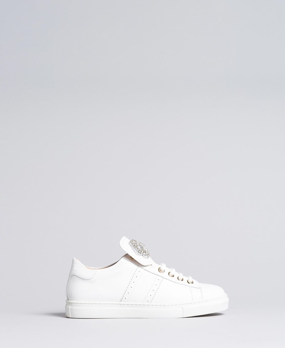 Two-tone leather sneakers with bow patch White Woman CA8PBG-02