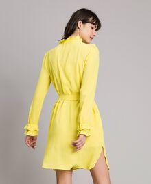 Hemdblusenkleid aus Seidenmischung mit Rüschen Gelb Frau 191TP2137-05