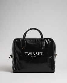Sac week-end en similicuir brillant Noir Femme 192TA7172-03