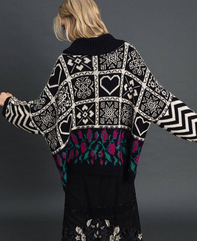 "Wool blend jacquard jumper ""Snow"" White Jacquard/ Black Woman 192TT3160-03"