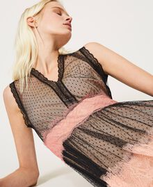 Robe longue en tulle et dentelle Bicolore Noir / Rose «Pêche Blossom» Femme 202TP2202-04