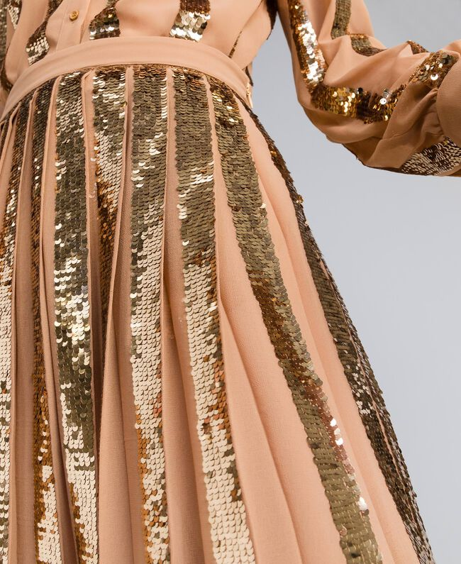 Jupe mi-longue en crêpe georgette avec paillettes Chameau Femme PA82J3-04