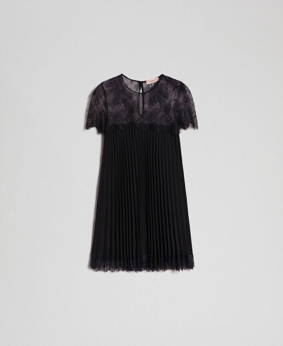 Blouse en crêpe de Chine plissé et dentelle Noir Femme 192TT2490-0S