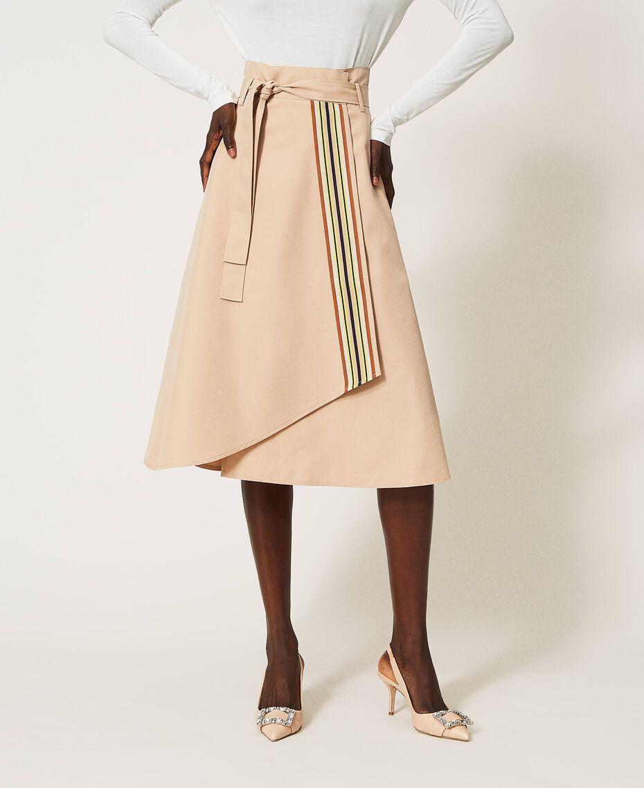 Skirt with multicolour gros-grain Soufflé Nut Brown Woman 202LI2EBB-03