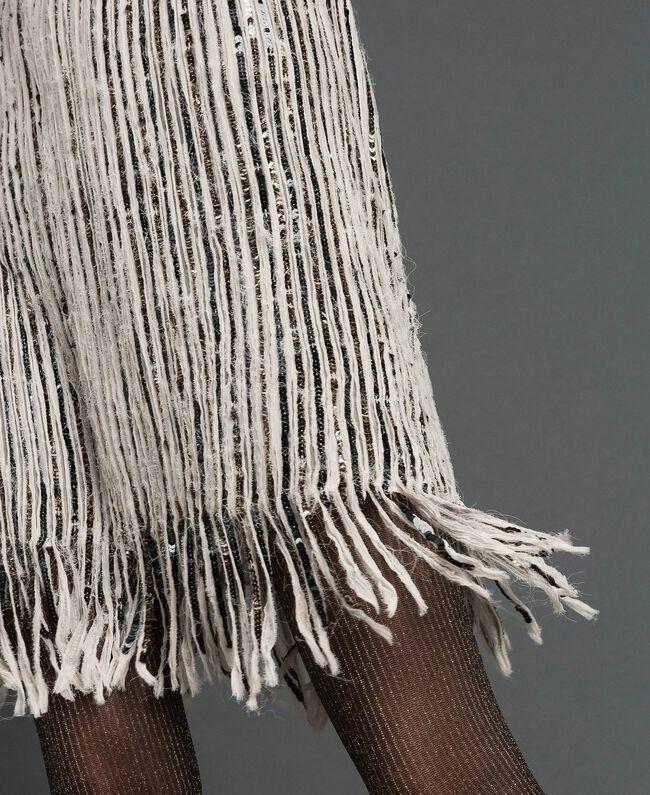Paillettenkleid aus Georgette mit Fransen Paillettenstickerei Dunkelgold Frau 192TT2482-04