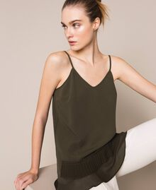 Crêpe de Chine top with pleated flounce Elm Green Woman 201ST2014-01