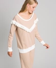 Long pyjamas with fringes Warm Beige Woman 192LL2EGG-02