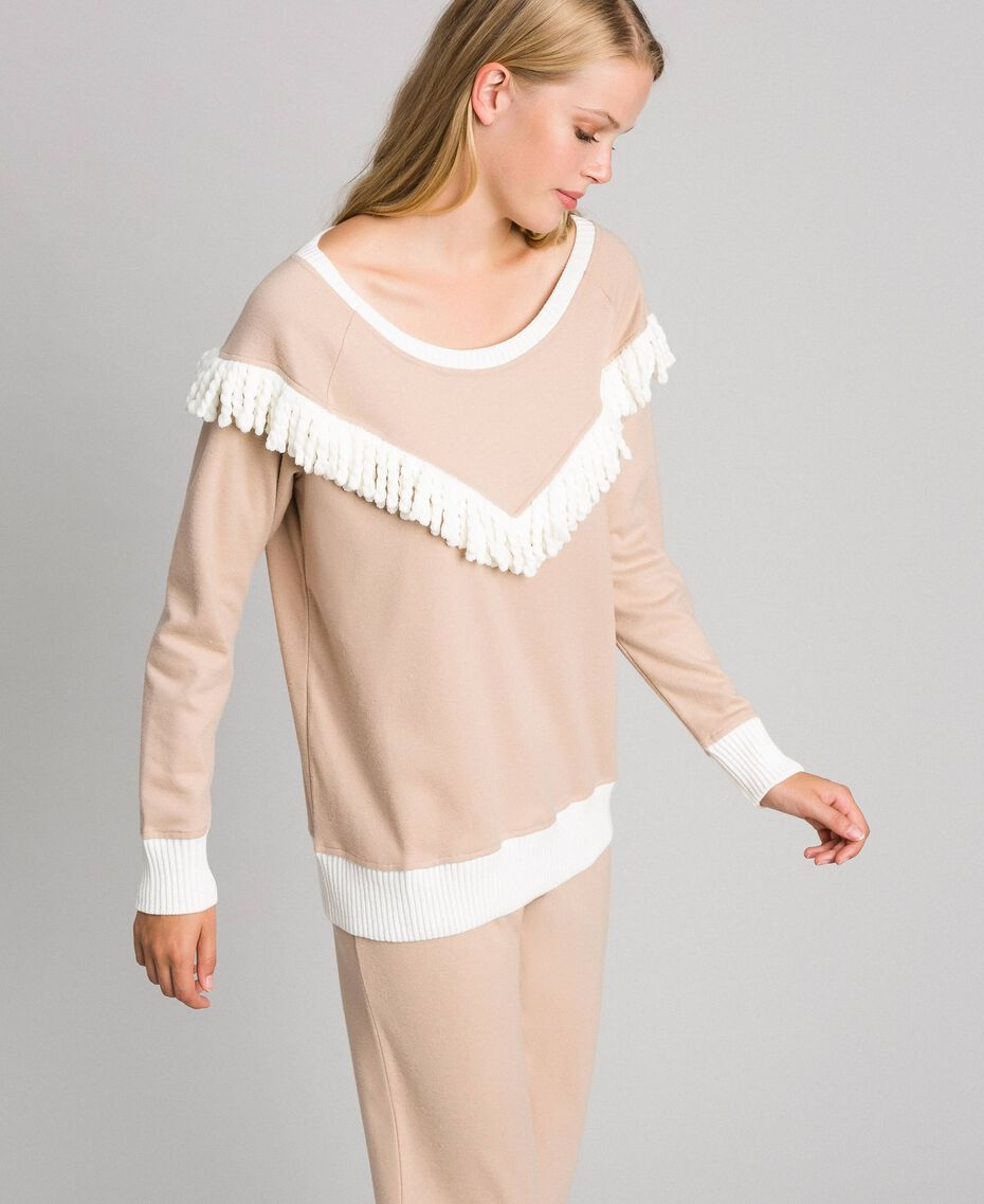 Pyjama long avec franges Beige Foncé Femme 192LL2EGG-02