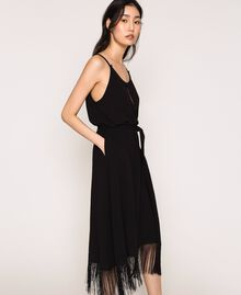 Long dress with fringes Black Woman 201LM2BEE-03