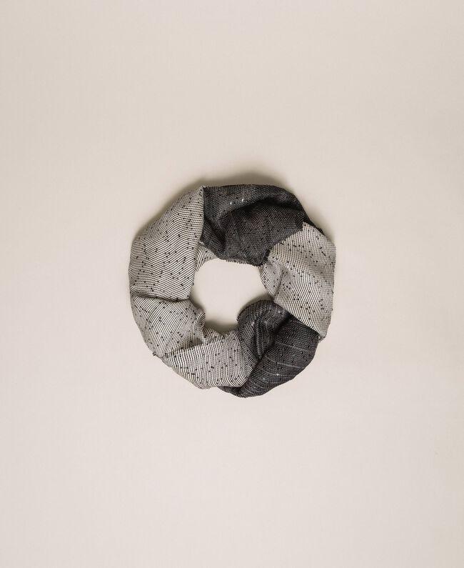 Étole avec sequins et franges Ivoire / Noir Femme 201TA4361-01