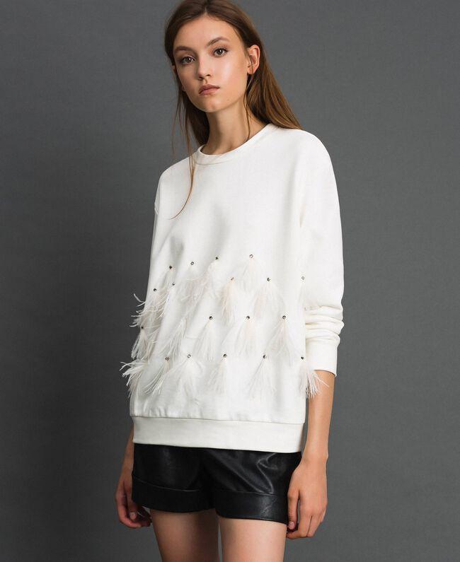 Sweat avec pierres et plumes Blanc Laiteux Femme 192TT2131-01
