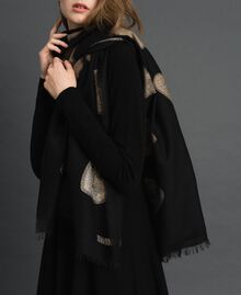 Fringed scarf with jacquard hearts Black Heart Woman 192TO536F-0S