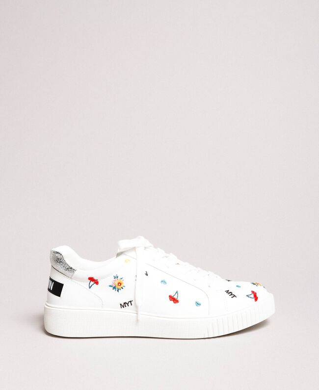 Faux leather sneakers with logo White Cream Woman 191MCP080-03