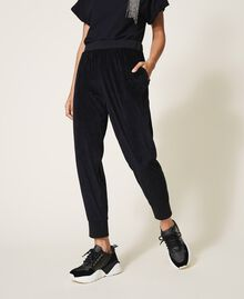 Pantalon en chenille avec strass Noir Femme 202LL2GFF-01