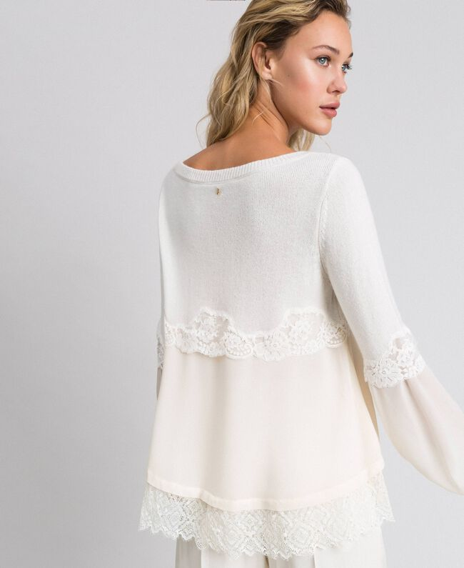 Jumper with georgette and lace White Snow Woman 192TT3082-03