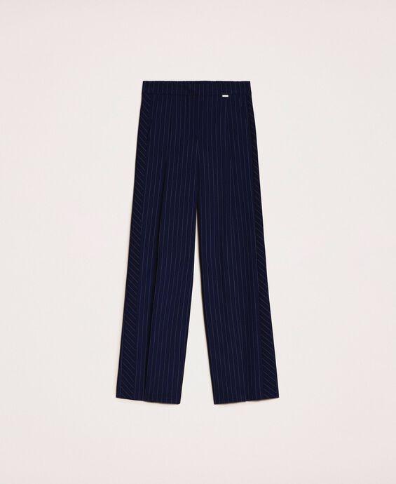 Pantalon palazzo à fines rayures