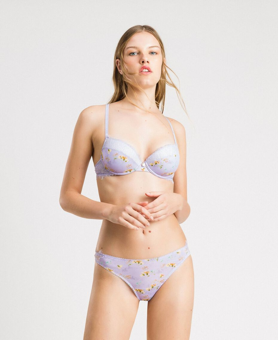 Floral g-strings with lace Lilac Mini Flowers Print Woman 191LL6A88-0S