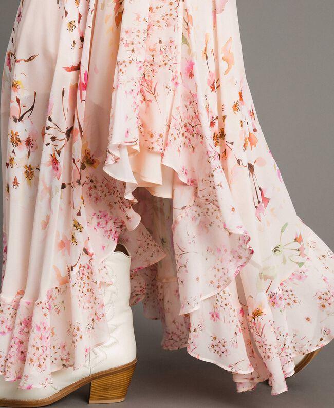 "Floral print georgette long skirt ""Blossom / Peach Mix"" Pink Print Woman 191TP2719-04"
