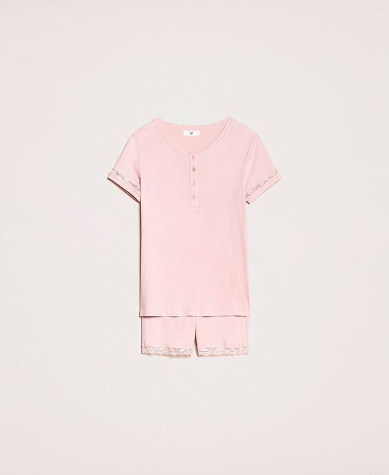 Short ribbed pyjamas with lace