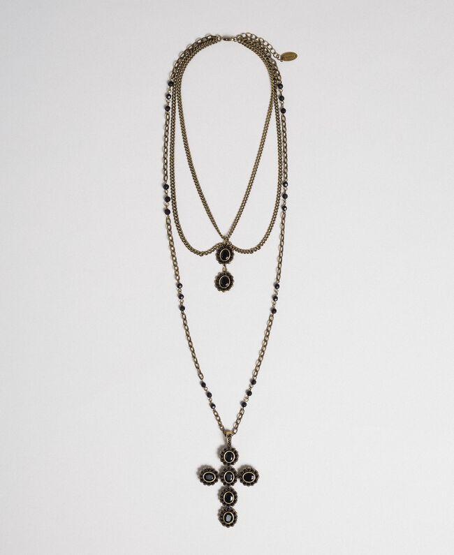 Rosenkranzhalskette mit verschiedenen Kettengliedern und Steinchen Schwarz Frau 192TA436H-01