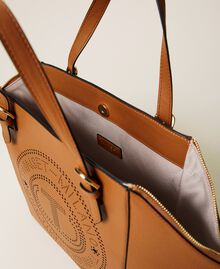 Shopper with openwork logo Leather Brown Woman 212TB7260-05