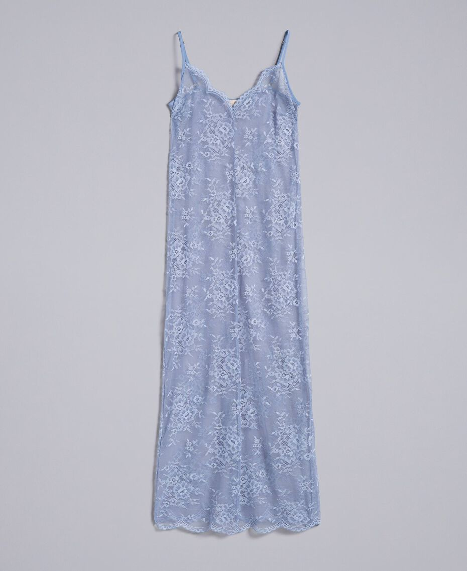 Robe nuisette en dentelle avec feston Bleu ciel Femme SA82HS-0S
