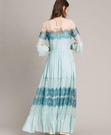 """Robe longue en georgette et dentelle Bicolore Bleu Clair Mikonos / Bleu Clair """"Aigue Marine"""" Femme 191TP2771-03"""