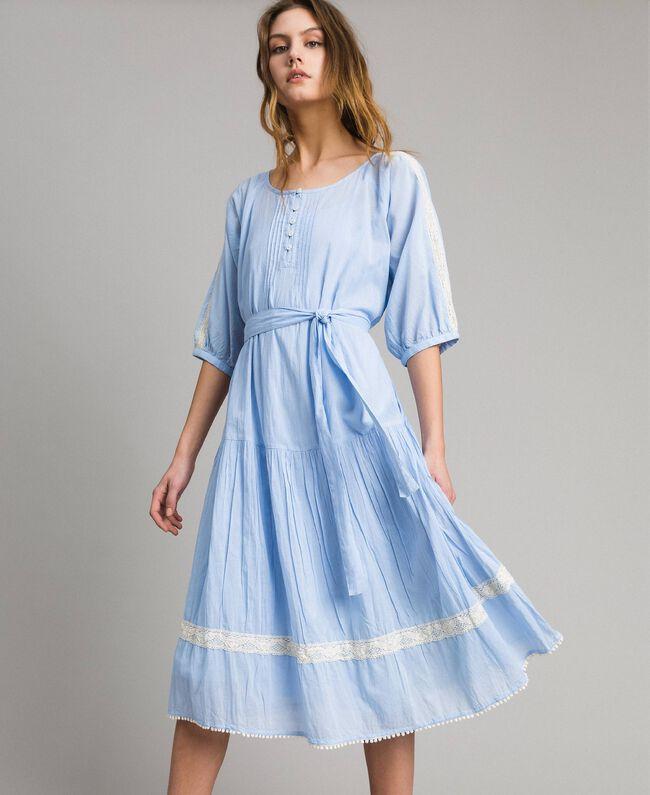 Voile Kleid mit Spitze und Stickereien Frau, Blau | TWINSET