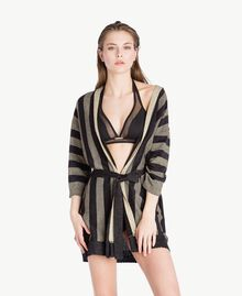 Lurex cardigan Two-tone Black / Gold Woman BS84BB-02