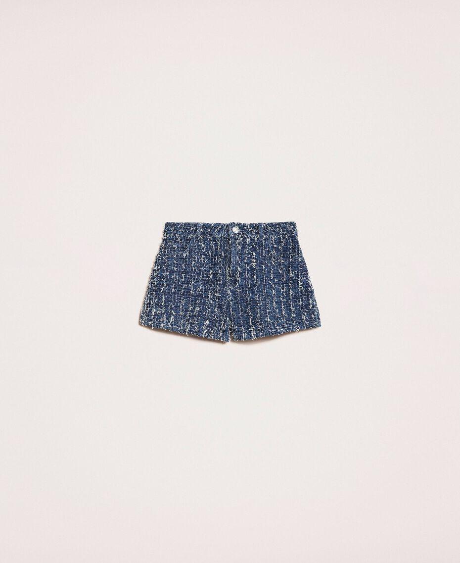 Denim shorts with bouclé Denim Blue Woman 201MP234C-0S