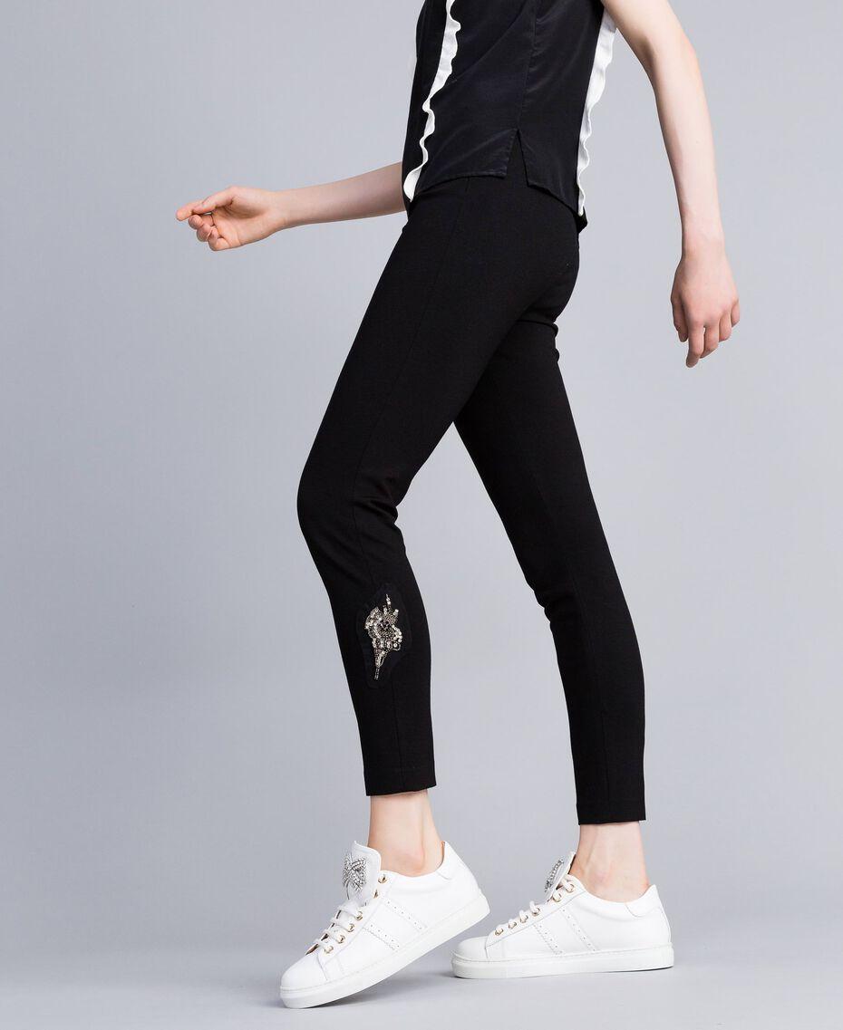 Legging en point de Milan avec patchs Noir Femme PA821C-01