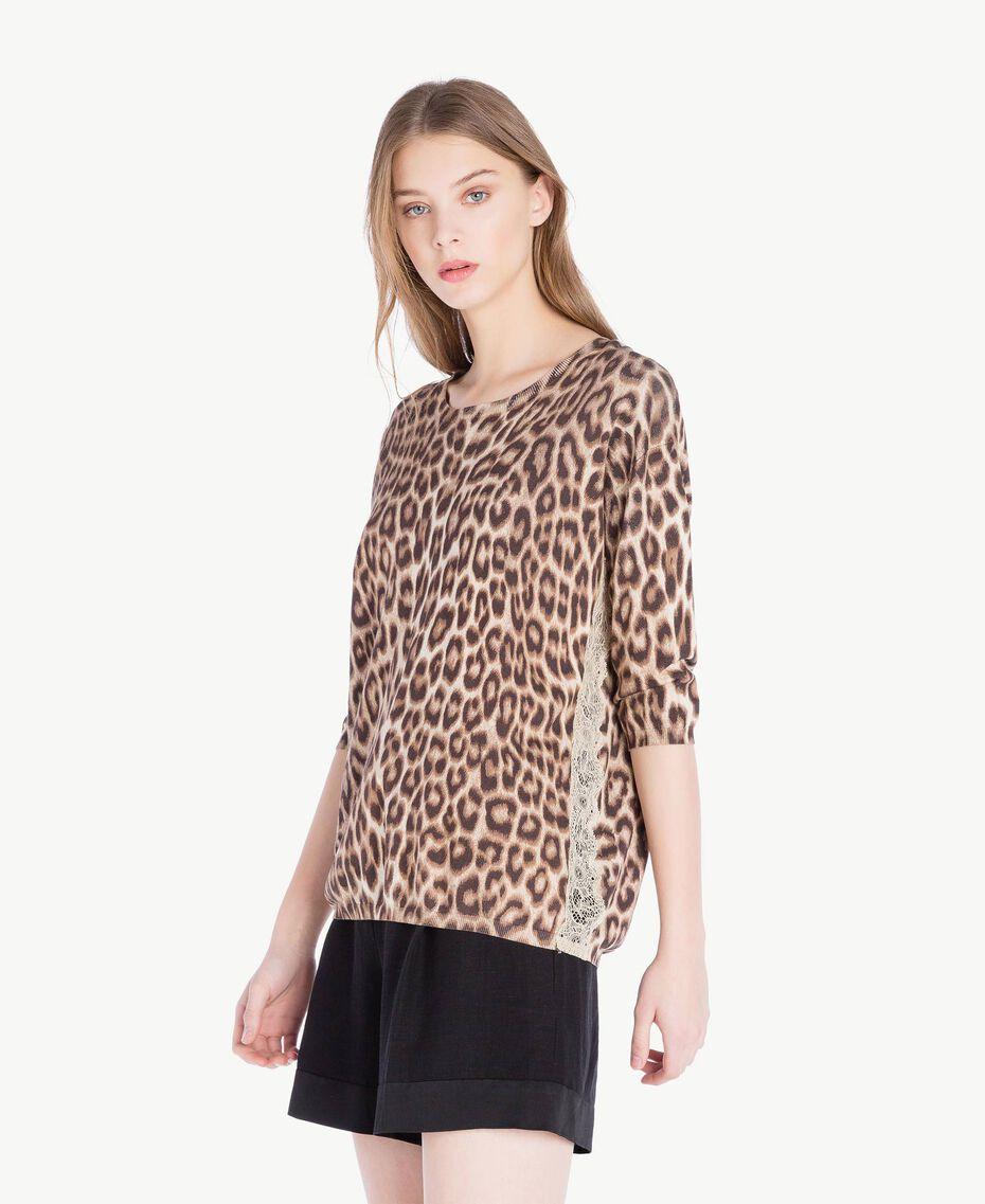 Pullover mit Animalier-Print Leopardenprint Frau PS83LE-02
