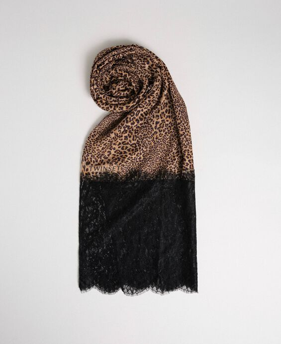 Lace and animal print stole
