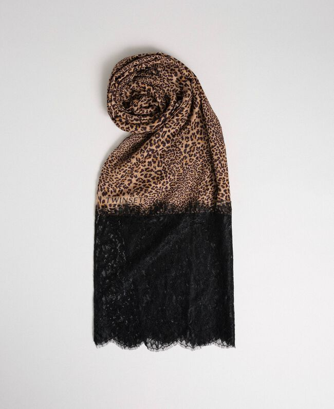 Lace and animal print stole Camel Animal Print Woman 192TO5374-01