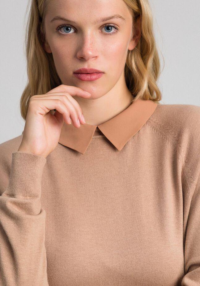 Pullover aus Wollmischung und Georgette