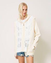 Cardigan en molleton avec insertions siglées Bicolore Blanc «Neige»/ «Blanc Cassé» Femme 211TT3240-05