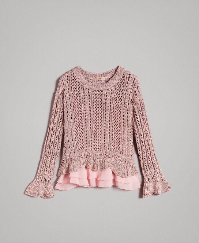Lace stitch lurex top Pearl Pink Lurex Woman 191TP3351-0S
