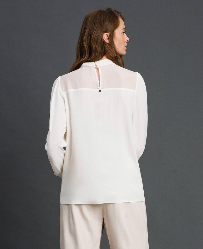 Blouse en crêpe de Chine et georgette Blanc Neige Femme 192TT2430-03