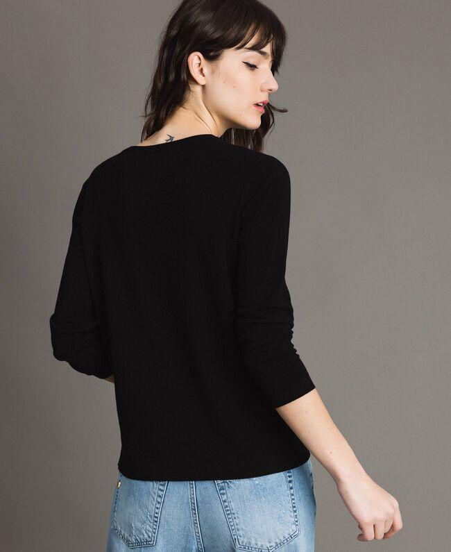 Pullover mit Mailand-Intarsie Schwarz Frau 191TP3382-03